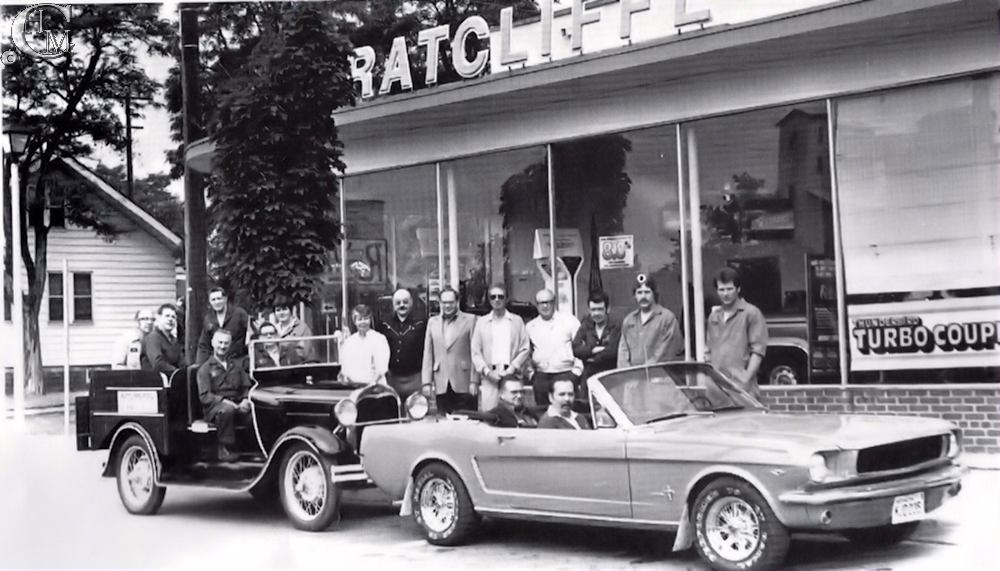 The Ratcliffe Ford dealership during Cheney's Centennial celebrations in 1983.
