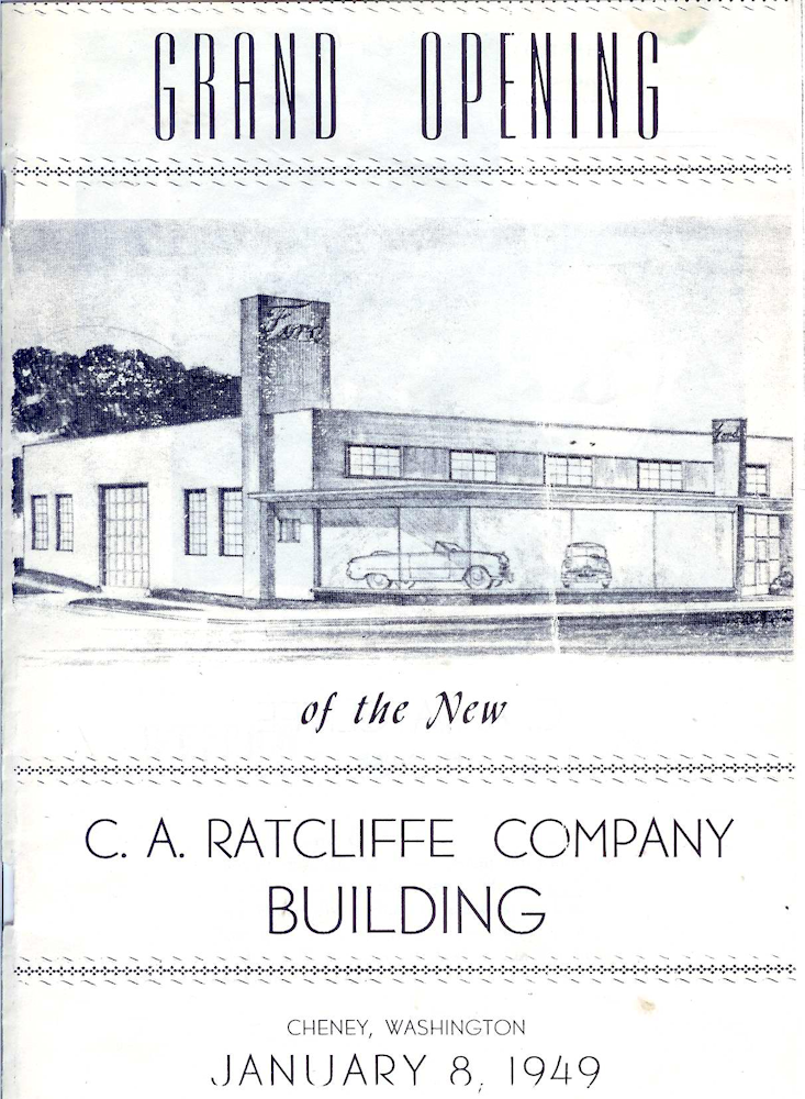 The program cover for the grand opening of the new Ratcliffe Ford dealership showroom in 1949.