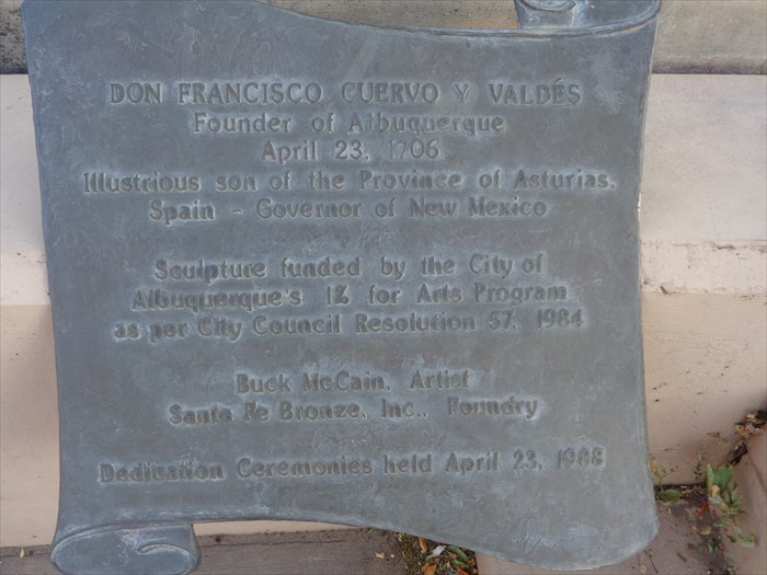 Plaque found on bottom of the Don Francisco Cuervo y Valdes Monument