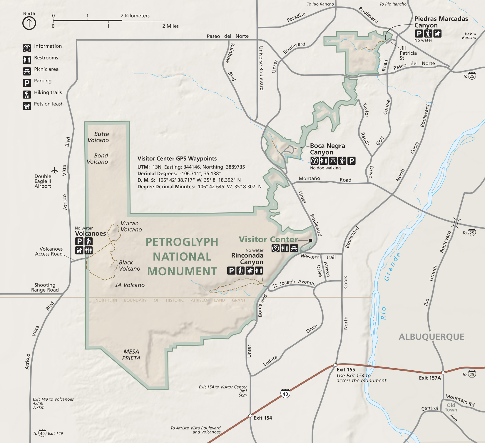 Map of the Petroglyph National Monument provided by the National Park Service