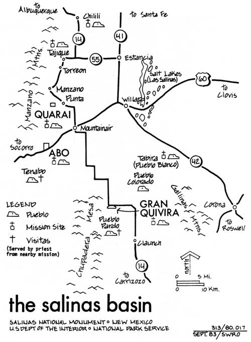 A map of the 17th century pueblos in the Salinas area including the three surviving ruins in the National Monument: Quarai, Abo, and Gran Quivira