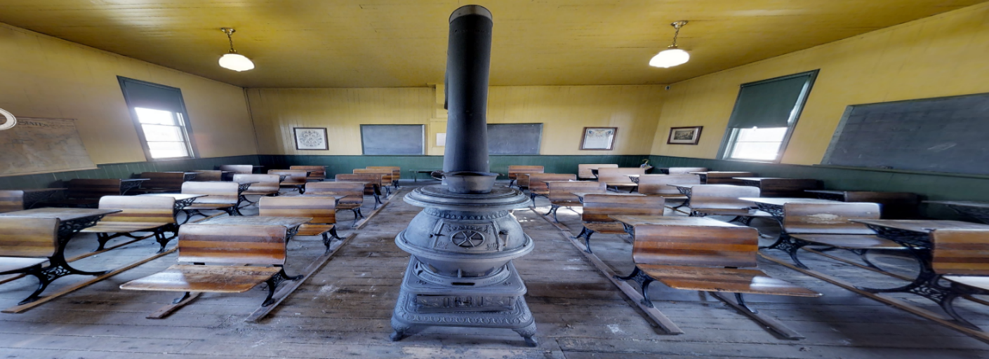 The interior of the Williamsville Schoolhouse