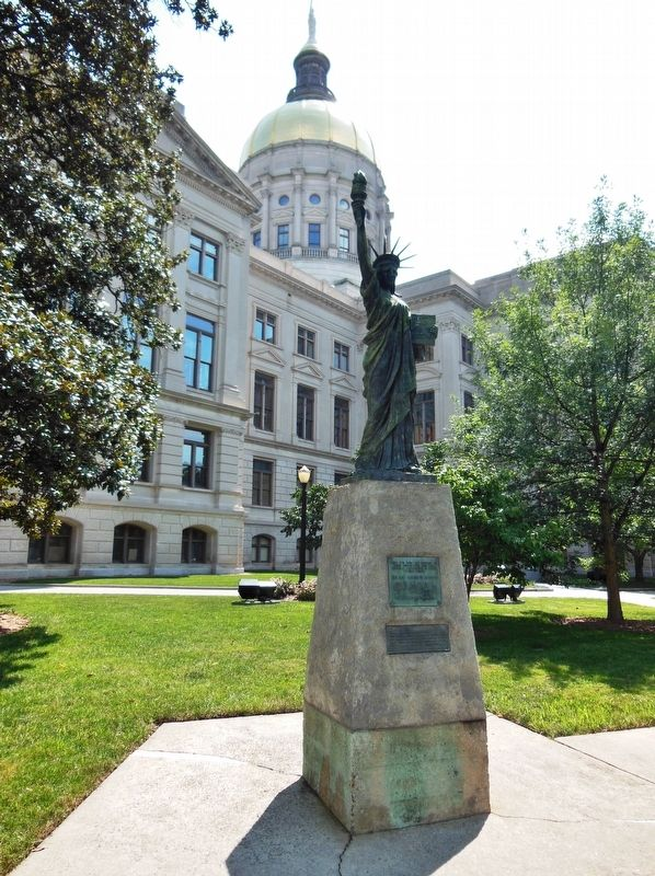 Photograph of the Statue of Liberty Replica outside the Georgia State Capitol.