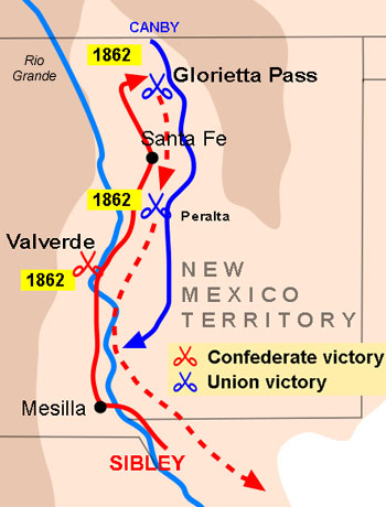 Map and route of Union and Confederate forces during the New Mexico Campaign