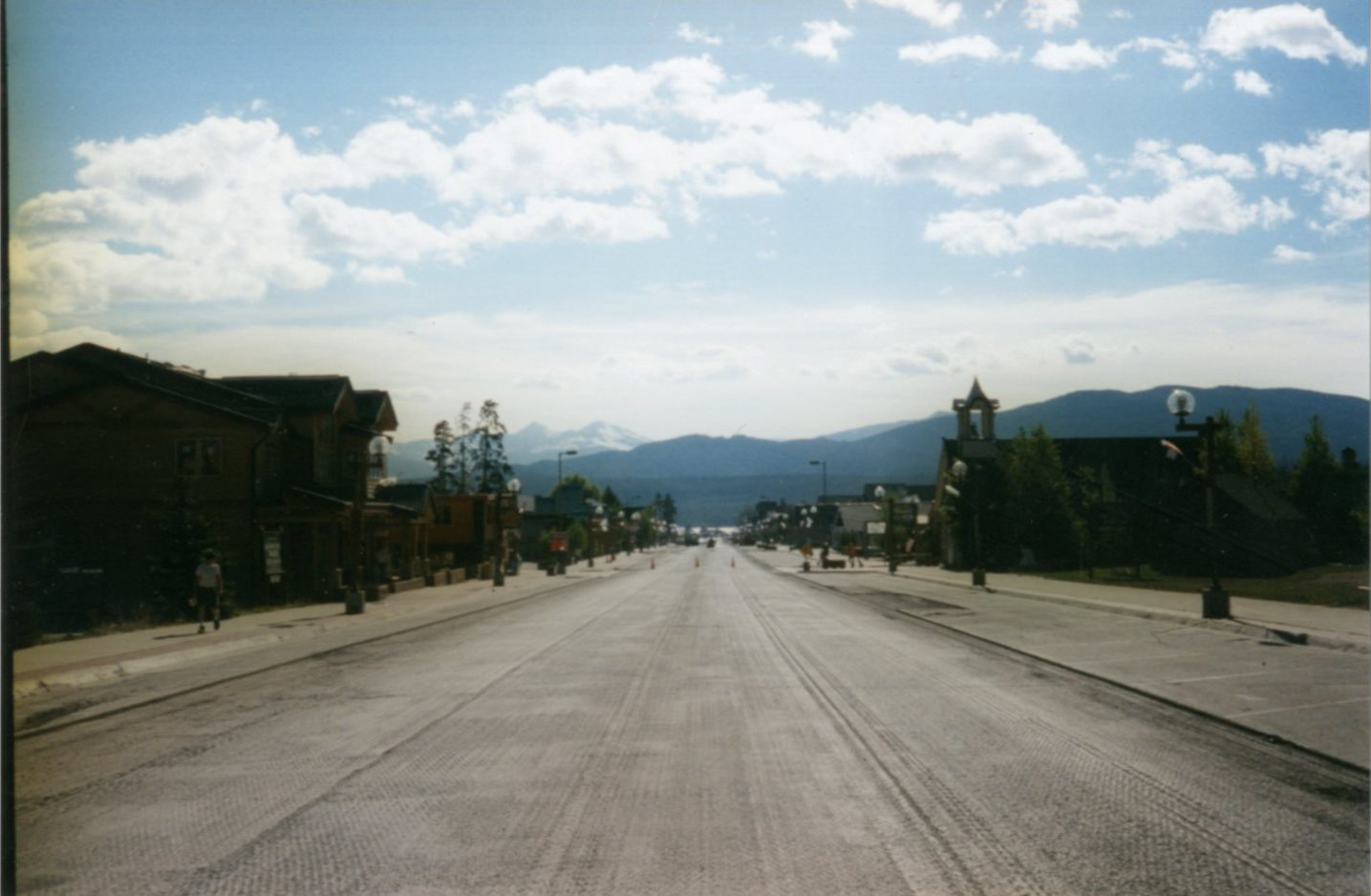 Main Street in Frisco,  during a paving project looking towards the Continental Divide. Circa 1990's.