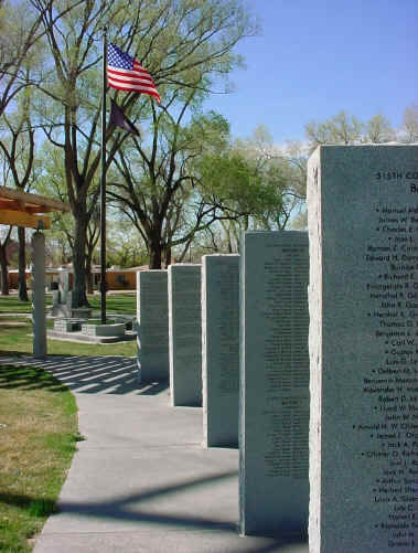 Some of the pillars that hear the names of those who were part of the Bataan Death March