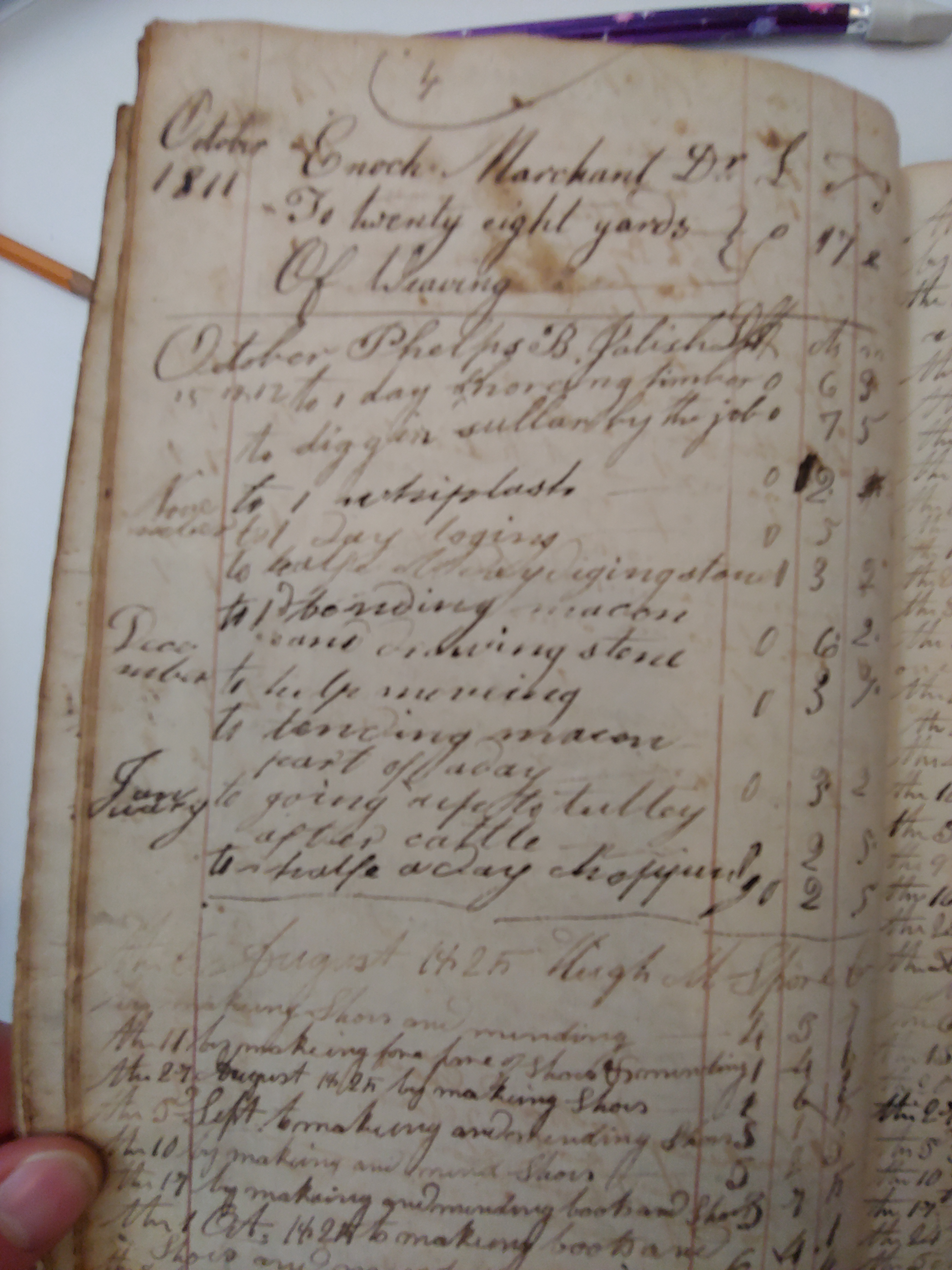 A page from David's record books, what is listed is goods sold, mostly to farmers.
