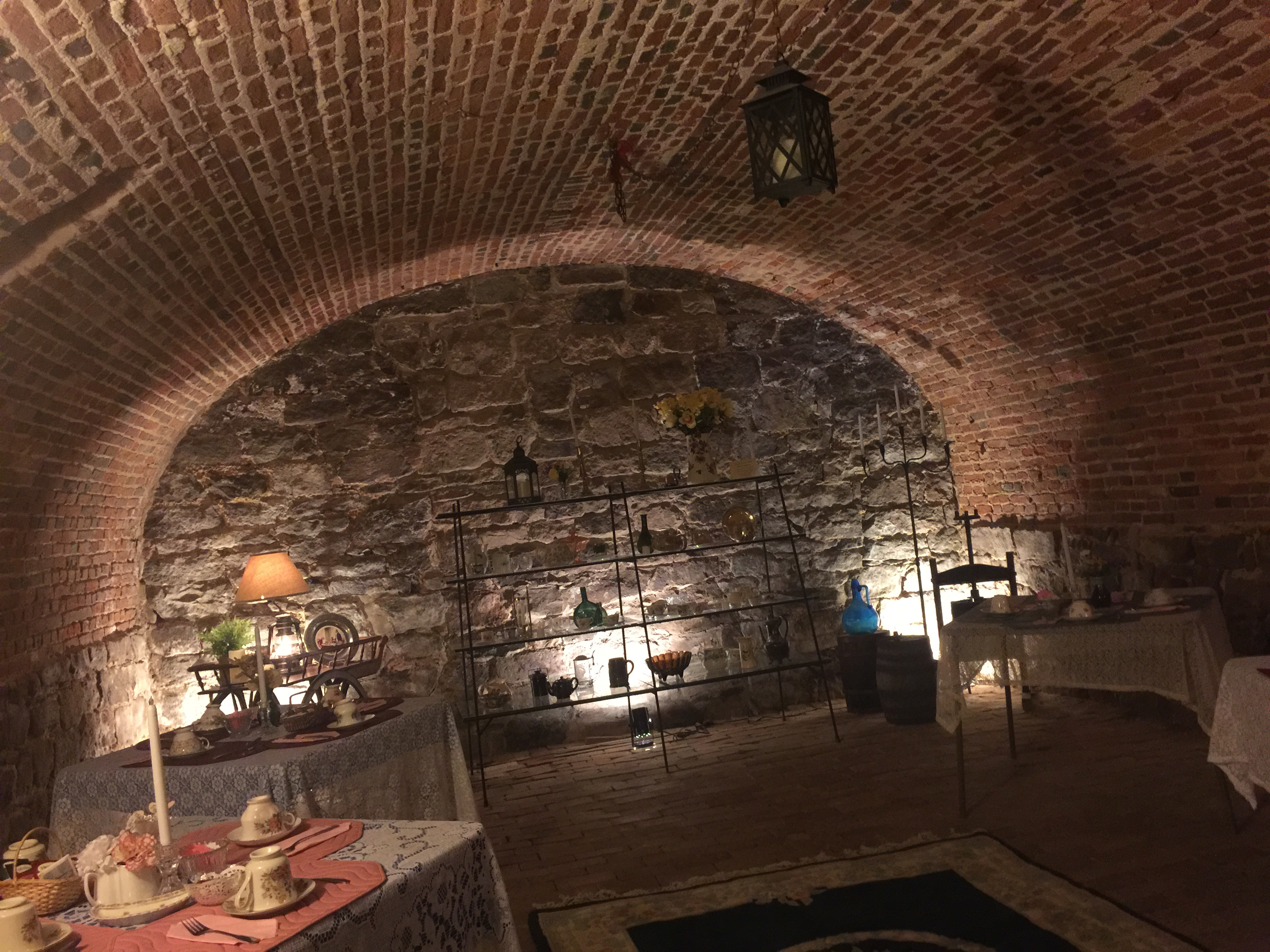 Original wine cellar which is key element of structure's foundation and used for tea service on Wednesday afternoons.