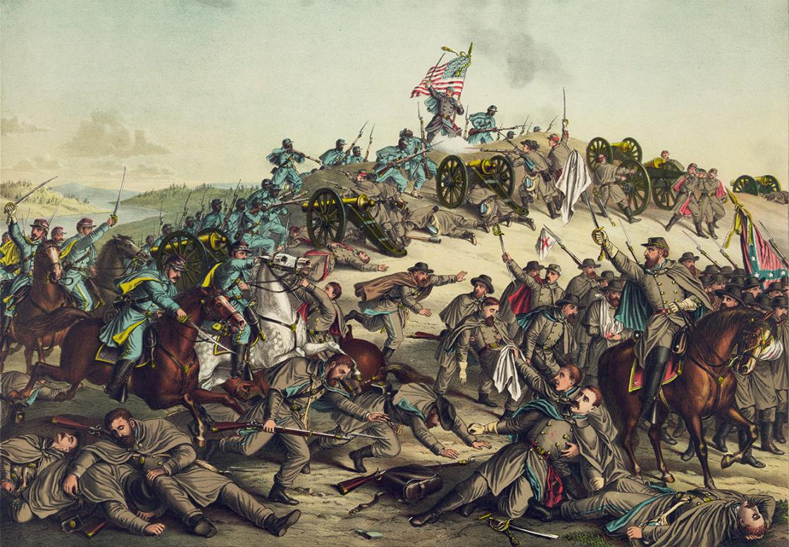 A Cromolithograph published by Kurz and Allison in 1888, depicting the Battle of Nashville