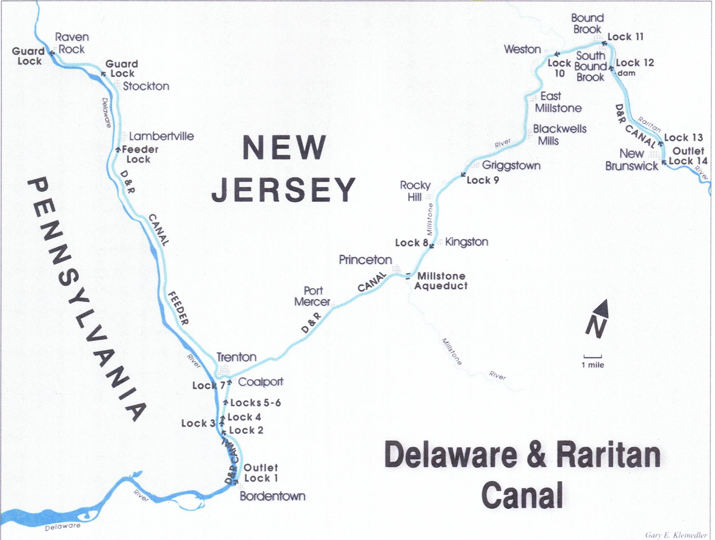 Map of the D&R Canal route and feeder (image from Canal Society of New Jersey)