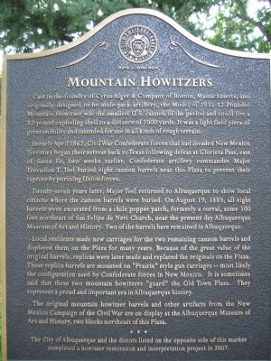 Historic sign for the mountain howitzers