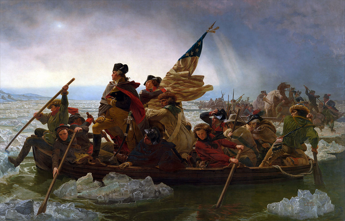The famous 1851 painting by Emanuel Leutze of Washington confidently crossing the Delaware River.
