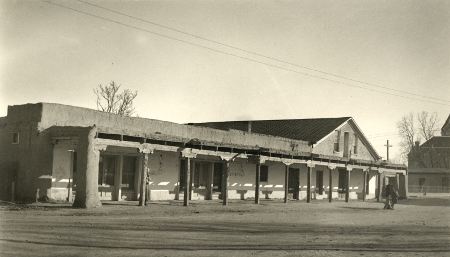 1880s photo of Casa de Arminjo when served as an office building and courthouse for the County of Bernalillo (of which Albuquerque is located)