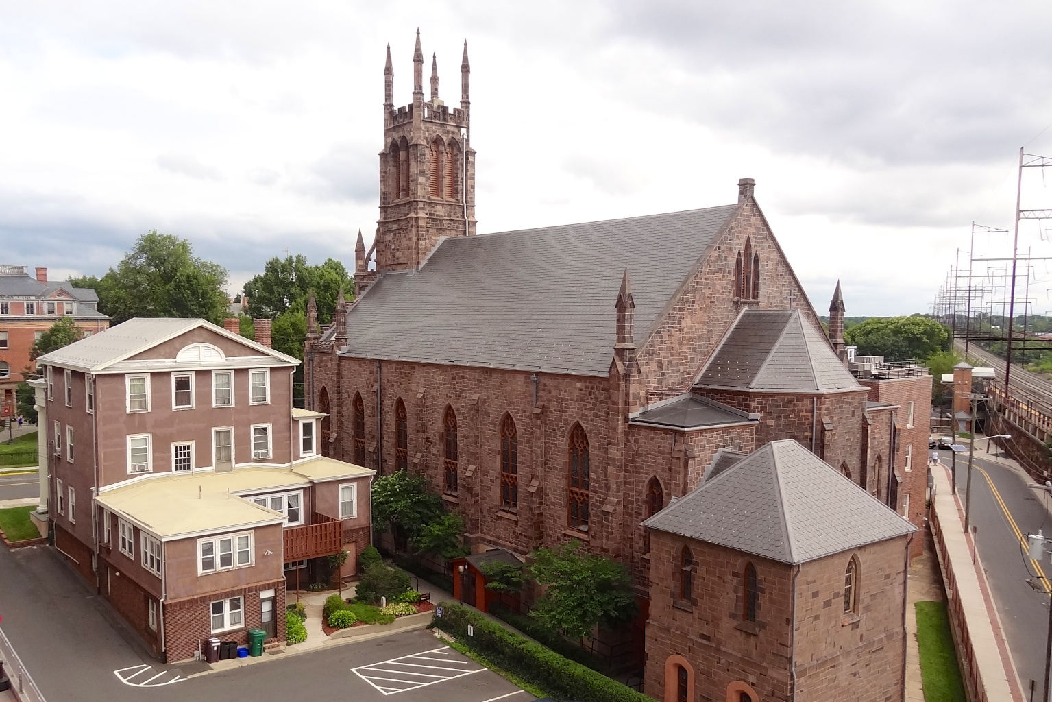 St. Peter the Apostle Church, rear, with rectory to the left (image from New Jersey Wiki).