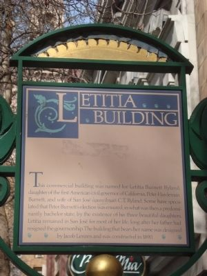 Historical marker outside the Letitia Building