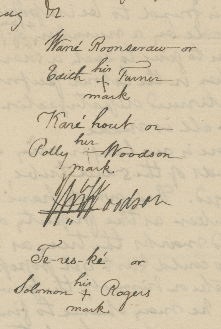 Turner's signature mark on petition of the Nottoway Indians to the Virginia General Assembly, in Legislative Petitions, Southampton County (received 11 December 1821), Accession 36121, Library of Virginia.