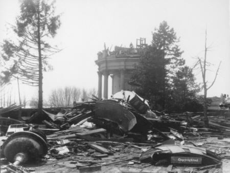 Damage to the Water Tower from the 1890 Tornado (image from Metro Archives)