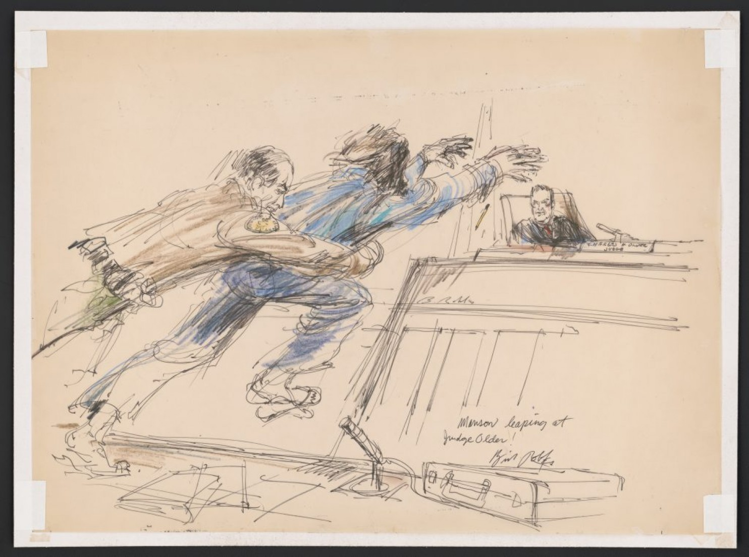 Bill Robles's sketch of Charles Manson leaping toward Judge Charles Older in 1970. (Gift of Tom Girardi via Library of Congress.) (Image and caption from The Washington Post)