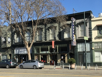 A shot of the Cattaneo Block from the front. The building was designated an Oakland Landmark On September 6, 1983.