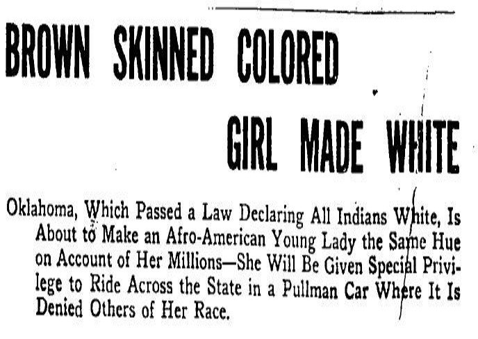 Newspaper headline in 1913, claiming that Rector would legally be declared white in order to be able to ride in segregated train cars
