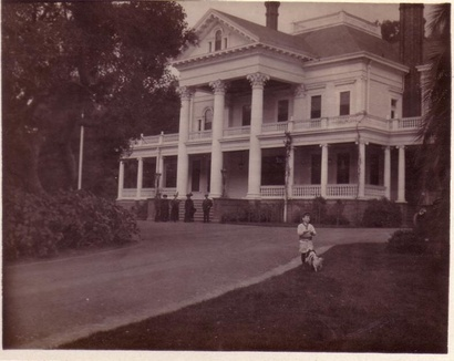 An old black and white shot of the house.
