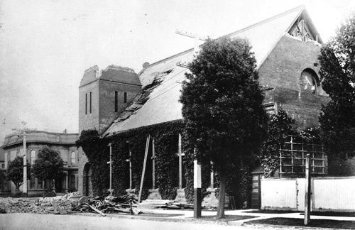 The church after the Great Quake of 1906.