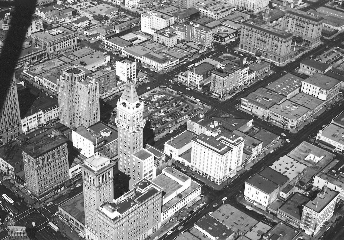 A black and white aerial shot of the Tower.