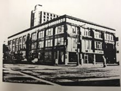 A black and white photo of the Howden Building.