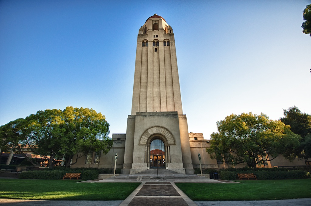 At 285 feet tall, the Hoover Tower is the tallest building on the campus of Stanford University.