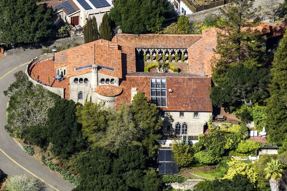 An aerial view of the Hume house