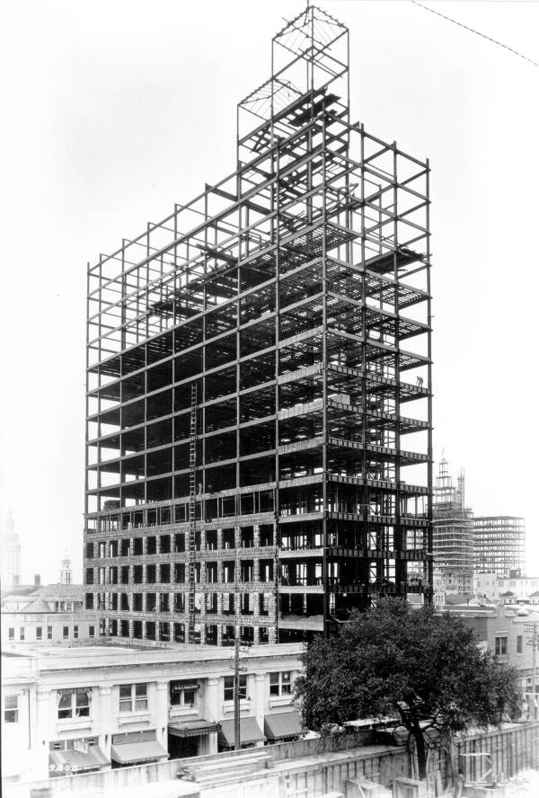 The Dade-Commonwealth Building under construction in 1925. It was one of the earliest skyscrapers to have a steel frame construction. Image obtained from Florida Memory.