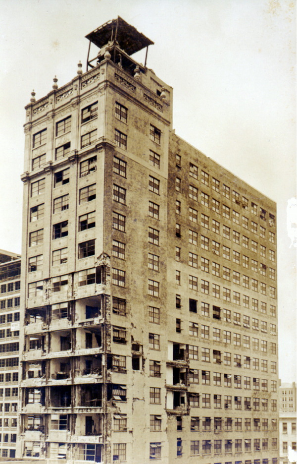 The Miami hurricane of 1926 damaged the building and resulted in the top ten stories being demolished. Image obtained from Florida Memory.