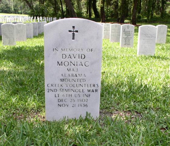 Front of Moniac's Headstone