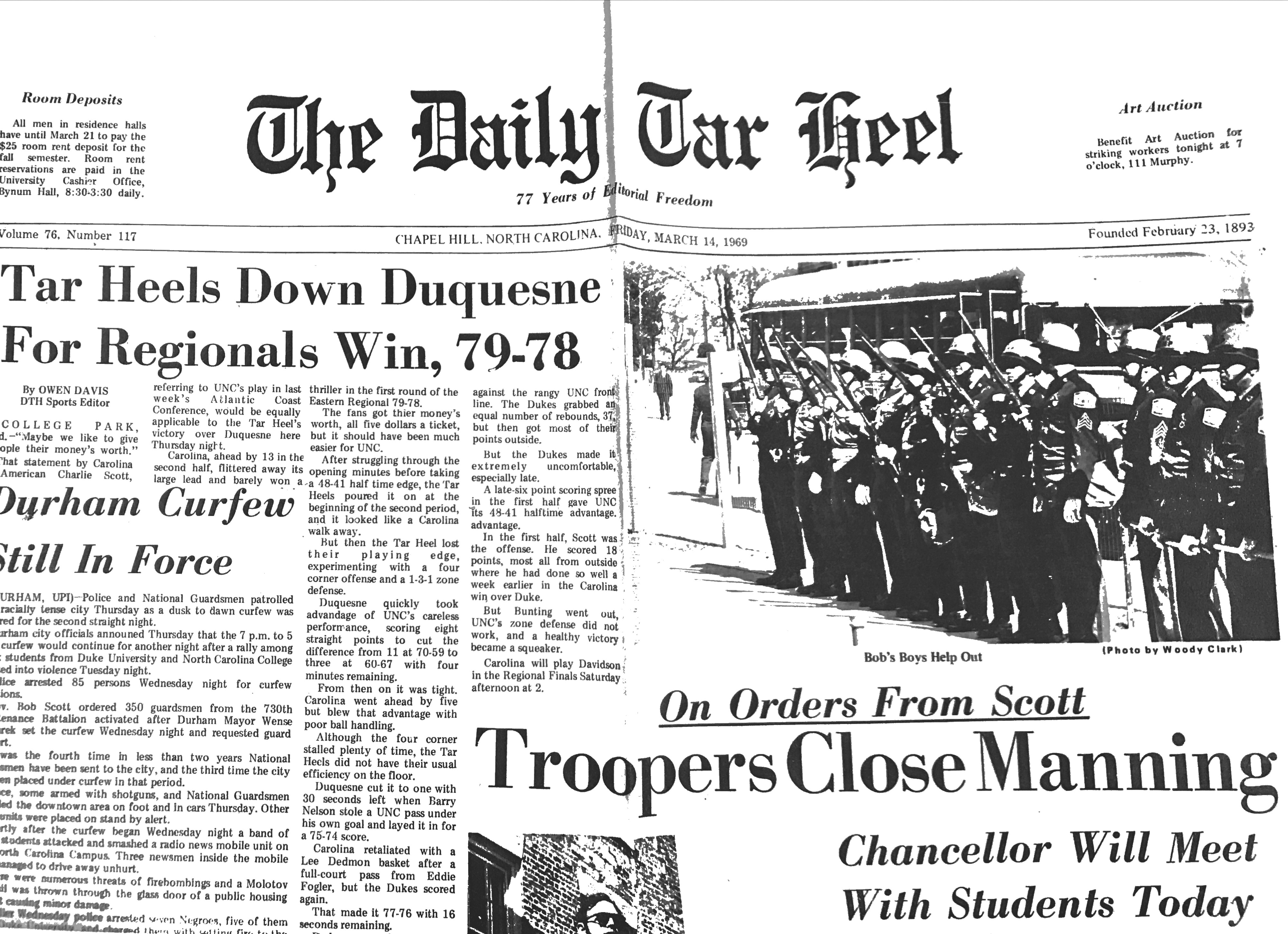 Newspaper headline from The Daily Tarheel on March 14, 1969, announcing the closing of Manning Hall and its Soul Food cafeteria. Governor Bob Scott ordered state troopers to assist in the evacuation of protesters and foodworkers.