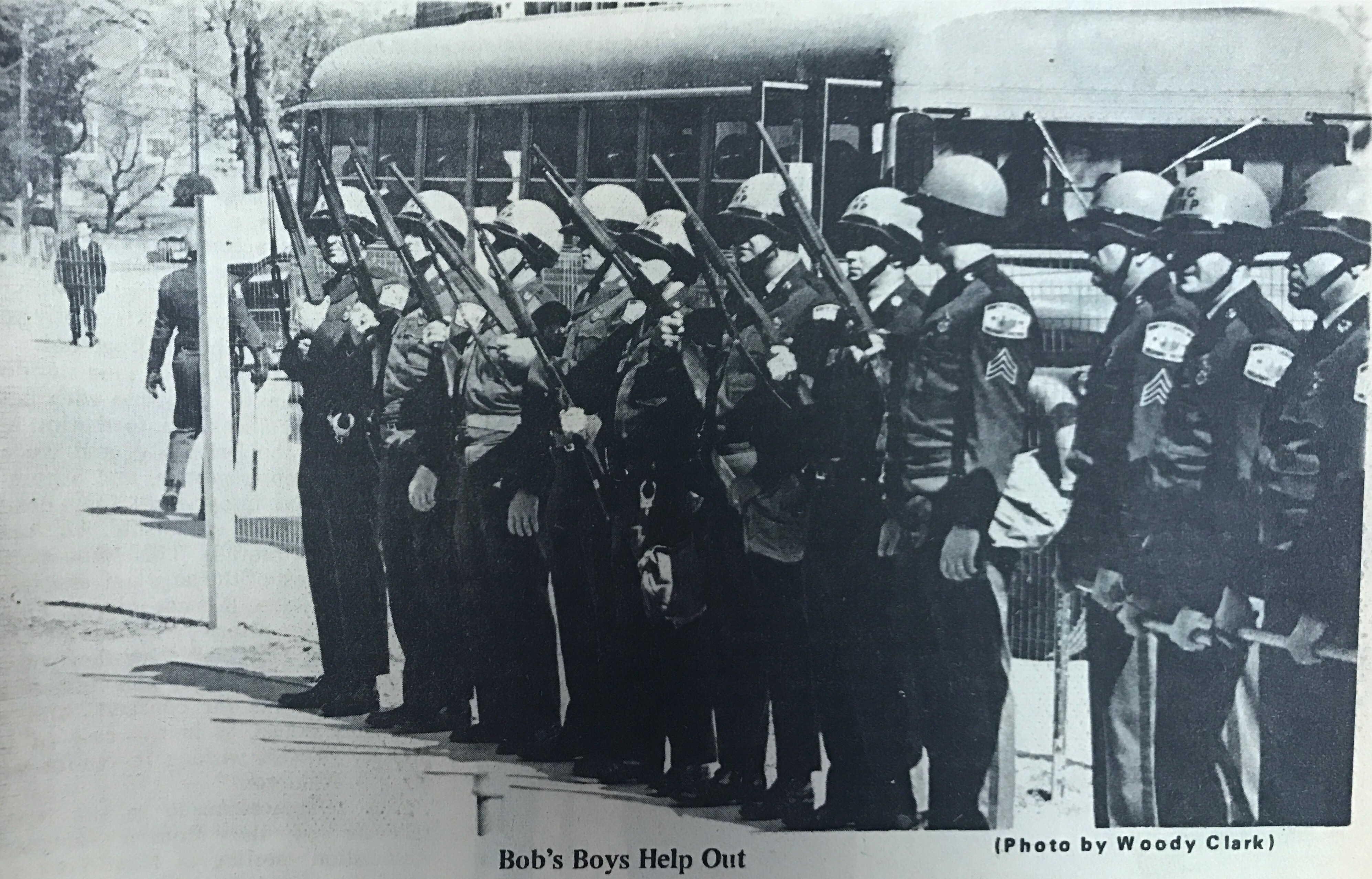 Picture in the March 14, 1969, edition of The Daily Tarheel capturing the state troopers, ordered by Governor Bob Scott, who helped with the evacuation of Manning Hall.