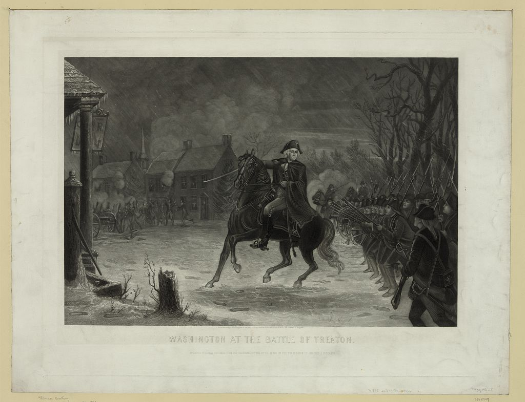 Washington at the Battle of Trenton / Engraved by Illman Brothers from the original in the possession of Charles J. Peterson.