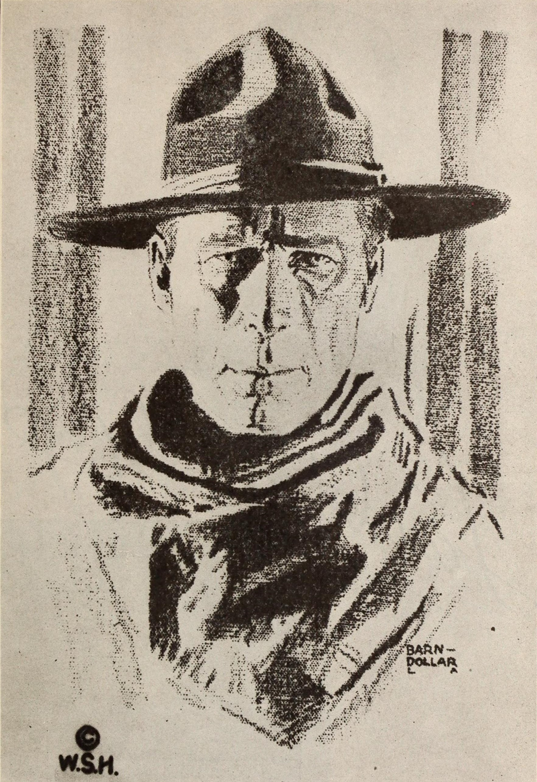 """A drawing of silent film actor William S. Hart by """"Barn Dollar"""" published in Wid's Yearbook in 1920"""