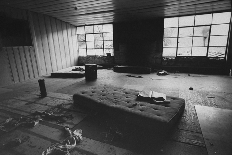 A photograph of one of the bedrooms used by the Manson Family taken by the LAPD in 1969, sourced from Jeff Droke's history of the ranch.