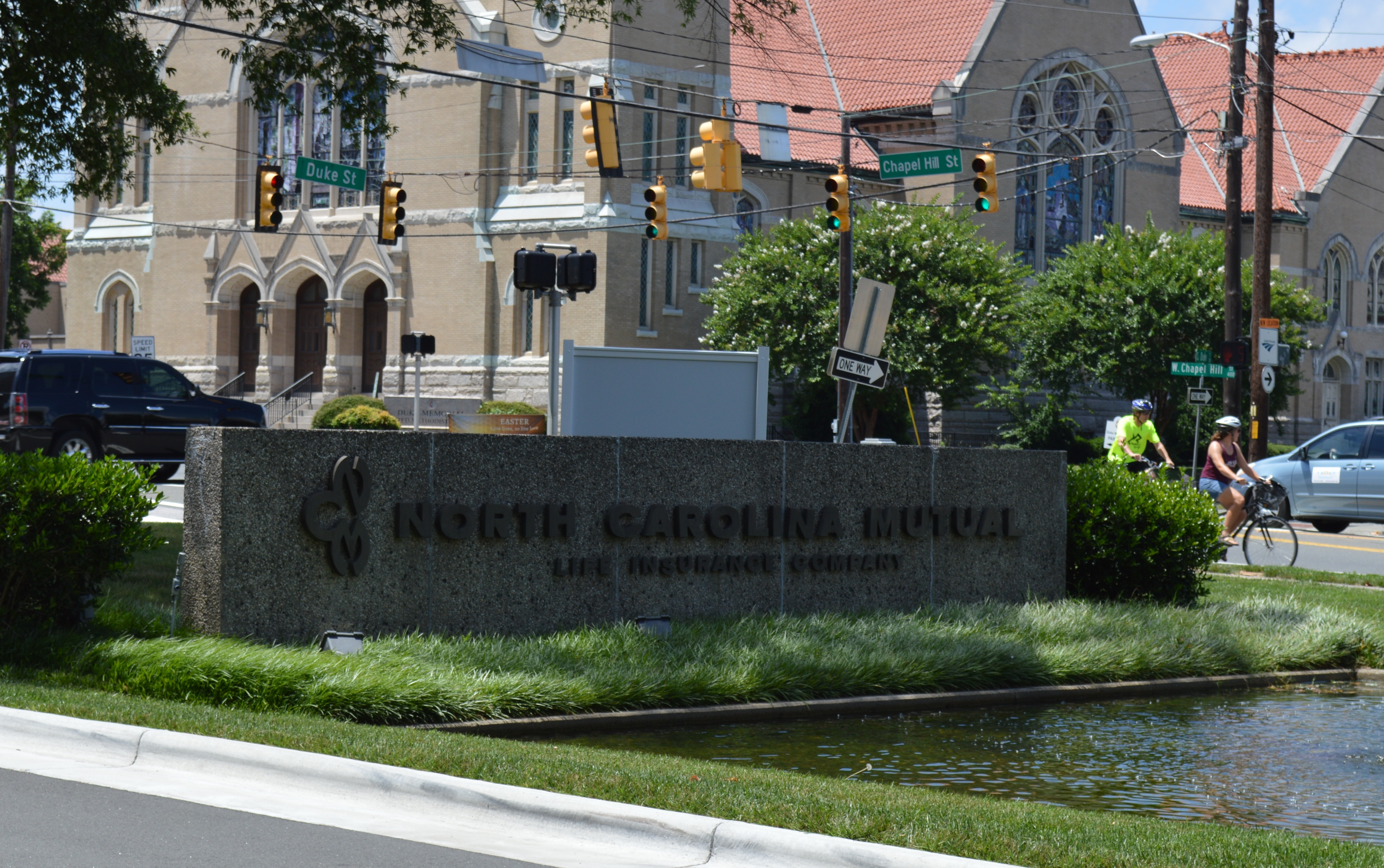 View of sign at the corner of Duke St. and Chapel Hill St.