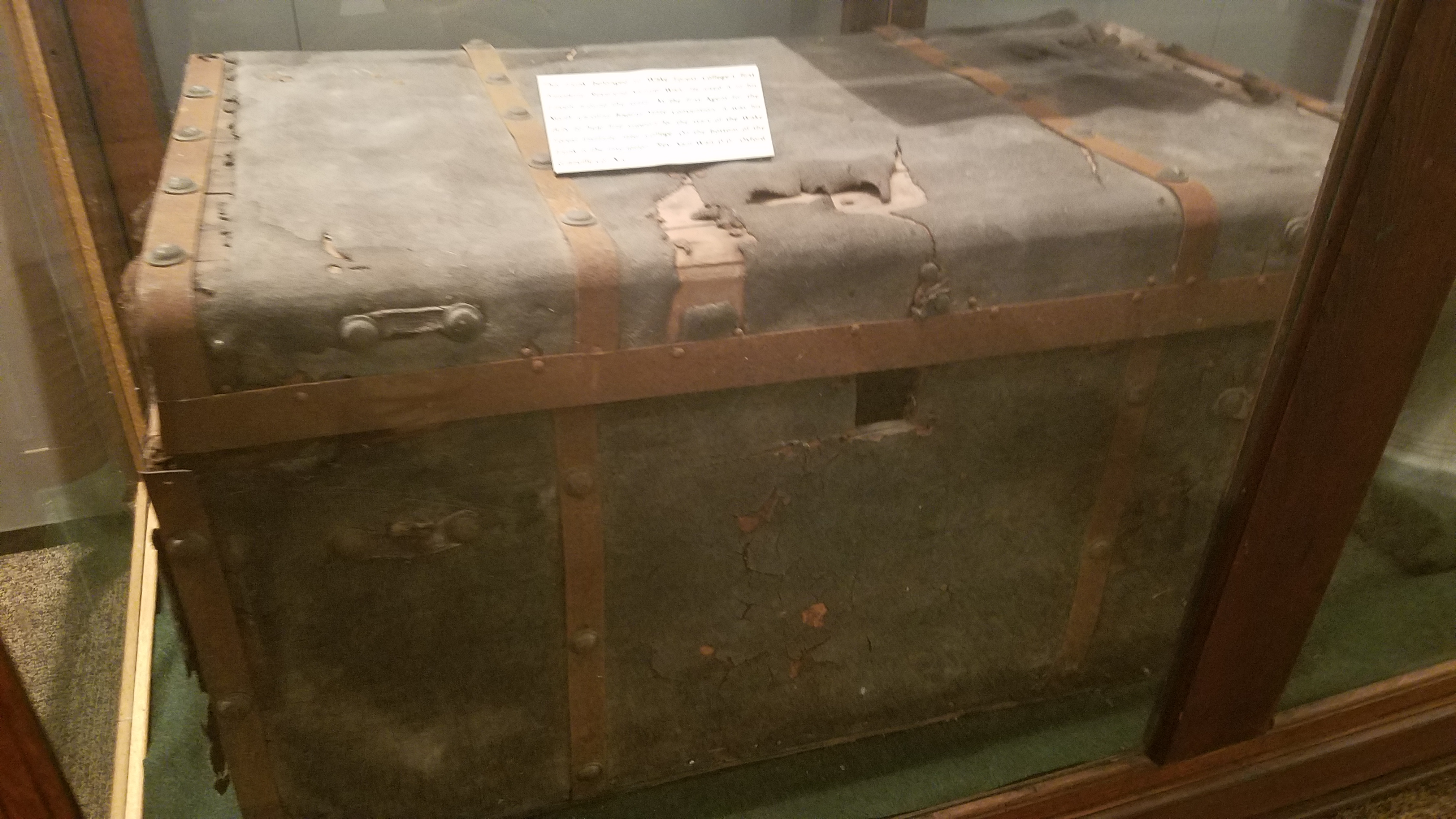 Samuel Wait's personal chest, which he brought with him on his many travels, raising money for the college.