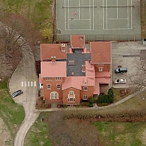 This aerial shot reveals the large size of the Edward King House.