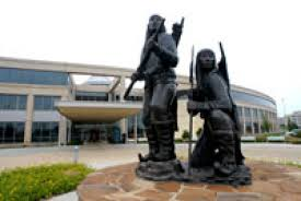 "The Oklahoma History Center opened in 2005 to be the primary museum of the Oklahoma Historical Society. This sculpture depicting Apache warriors, titled ""Unconquered,"" was created by artist Allan Houser in 1994."