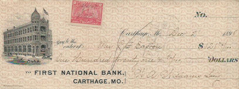 1898 1st National Bank check in the collection of the Powers Museum. Mrs. C. F. Easton is payee and W. A. Williams is payer. It was displayed as part of the 175th Anniversary of Carthage Exhibit at the Powers Museum.