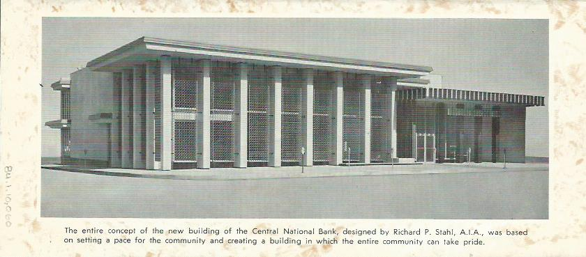 New Central National Bank (on former 1st National Bank site) in 1964. From CNB brochure displayed in 175th Anniversary of Carthage Exhibit.