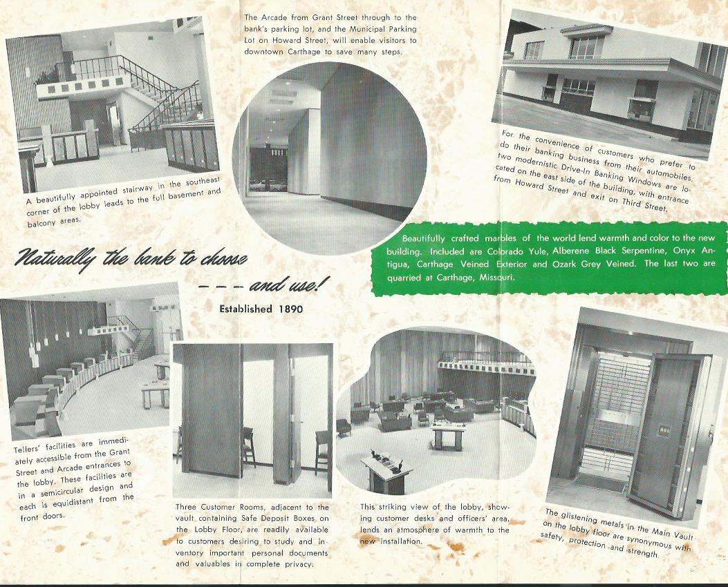 Interior views of 1964 Central National Bank building (now United Missouri Bank). From CNB brochure displayed in 2017 exhibit.
