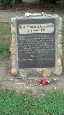 This marker for Charley Darkey Parkhurst can be found in section B, plot 20 of the Watsonville Pioneer Cemetery