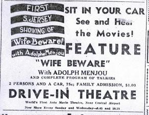 Ad for premiere of drive-in theatre