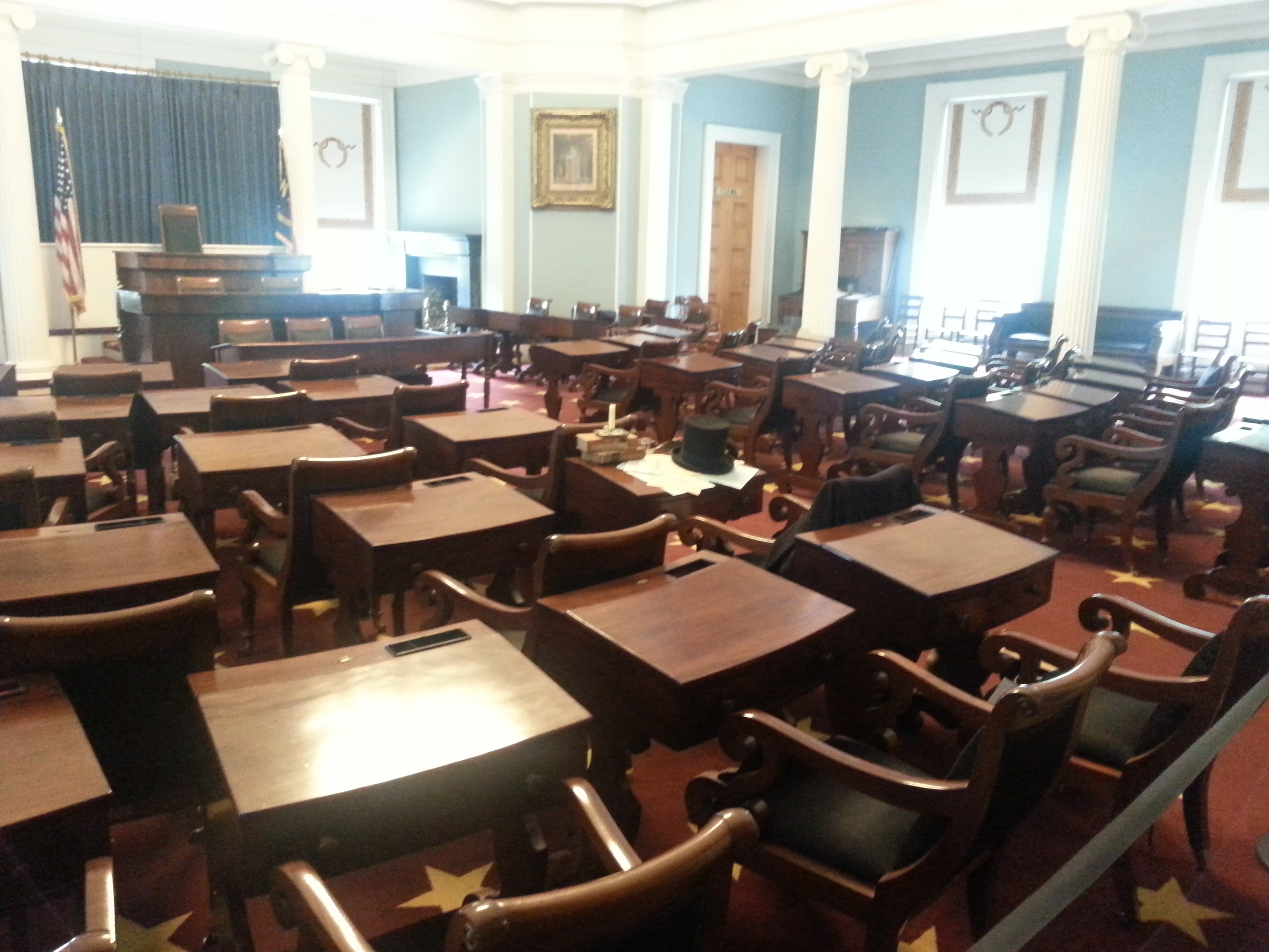 This room housed the North Carolina Senate from 1840 to 1961.