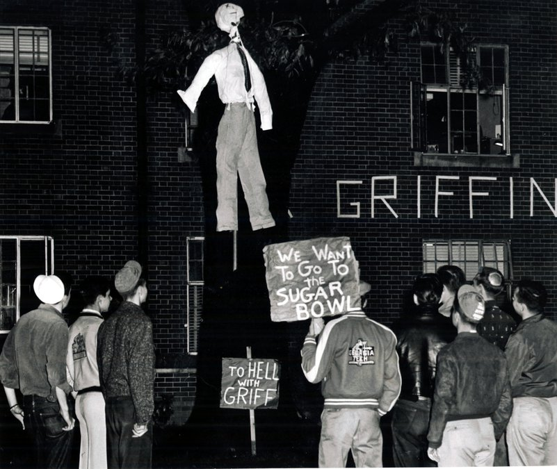 George Tech students protest Governor Marvin Griffin's opposition to the Sugar Bowl. Griffin was a segregationist and thought his opposition would play well with his political base. However, it mainly sparked outrage.