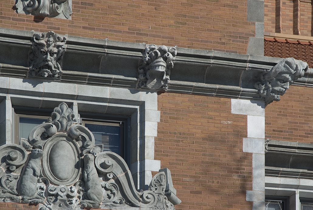 Terra cotta carvings of mythological figures and animals adorn the building